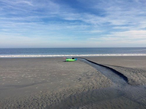 kayak on tybee island beach, mermaid cottages, tybee island ga