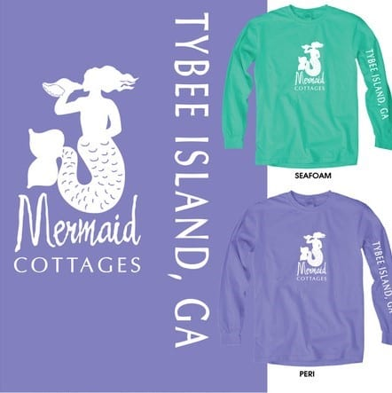 mermaid cottages tees for sale at seaside sisters on tybee island ga