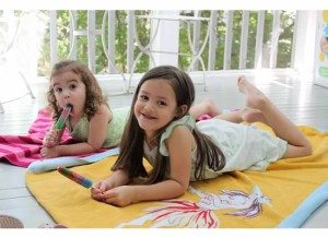 Little girls on front porch