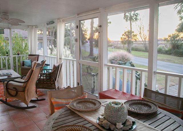 the stunning porch views from tybee tides cottage