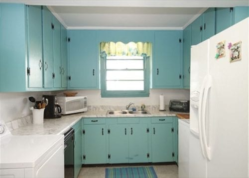 the kitchen at living the dream cottage, mermaid cottages, tybee island ga
