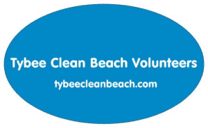 the logo for the tybee clean beach volunteers on tybee island ga