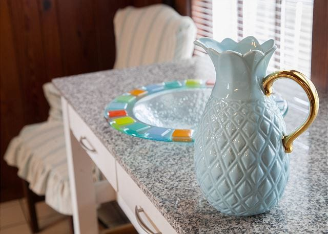 decorative glassware in this Tybee Island cottage