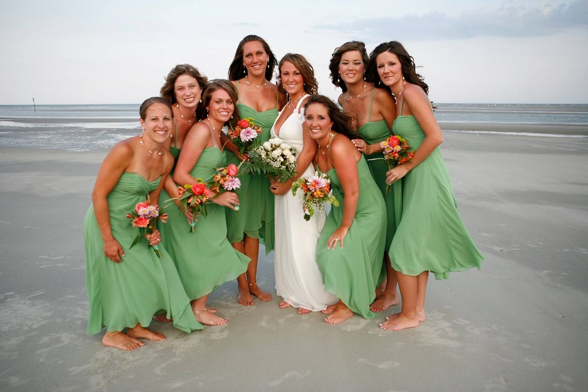a tybee island bride with her attendants