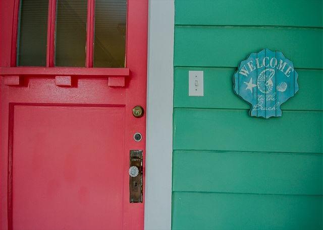 The red Tybee island door at Nora's Cottage