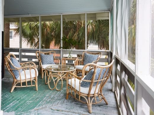 life styled screened porch at sandpiper cottage