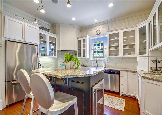 the kitchen at a wave call cottage for your Tybee beach vacation