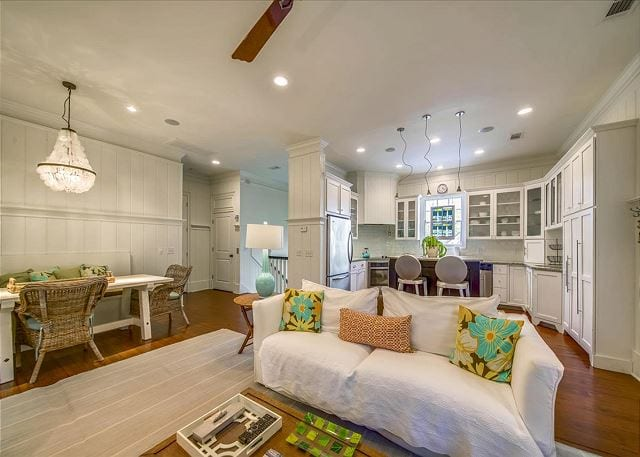 the open floor plan at a wave call cottage for your Tybee beach vacation