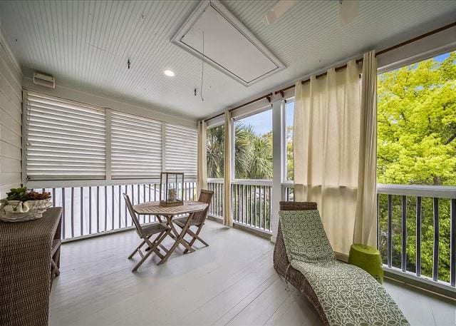 a porch at a wave call cottage on your Tybee beach vacation