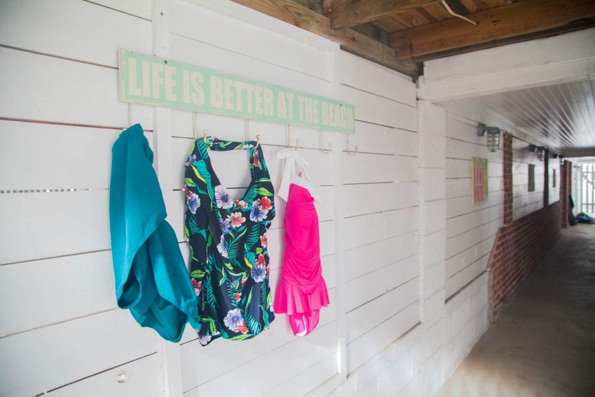 swimsuits on pegs in tybee island