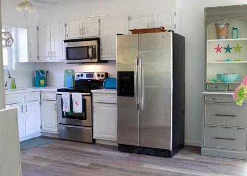 the kitchen at coastal joy cottage