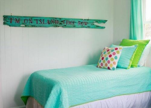 twin bed at coastal joy cottage