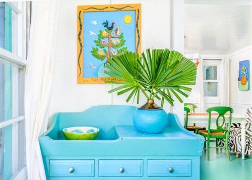 colorful interiors at mermaid cottages