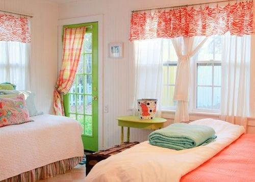 the orange bedroom at The Shrimp Cottage