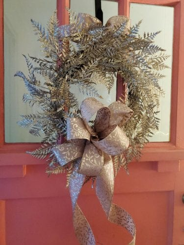 Christmas wreath at Nora's Cottage