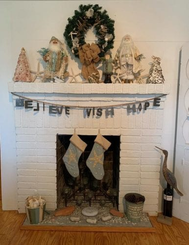 tybee tides fireplace at Christmas