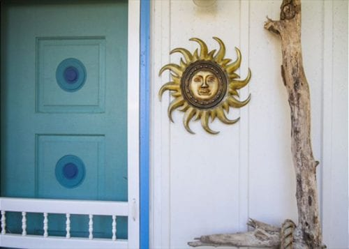 the sun symbol at Crabby Pirate Cottage