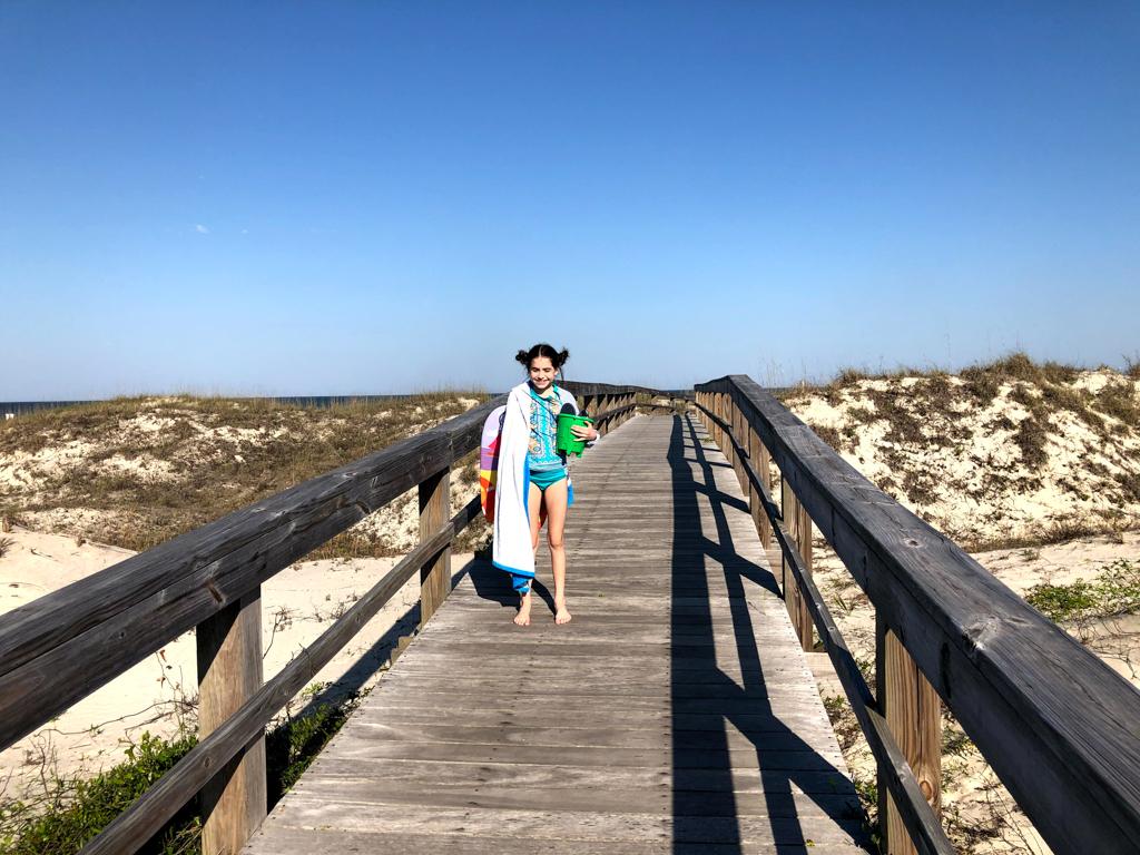 blue skies beach access
