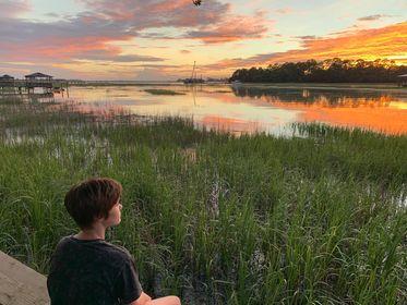 josie and her tybee island sunset